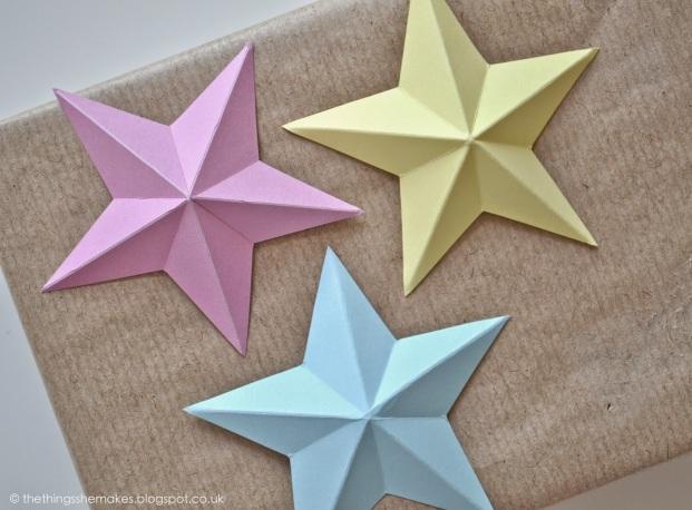 3d paper stars diy